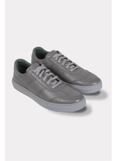 Krähe Koraki Gri Deri Minimal Sneaker Gri